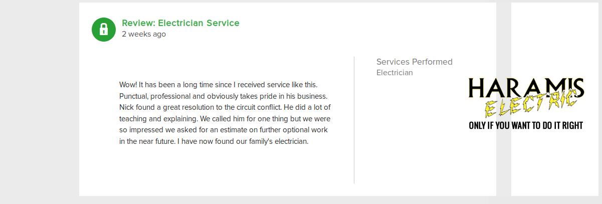 Crofton Electrician Reviews Haramis